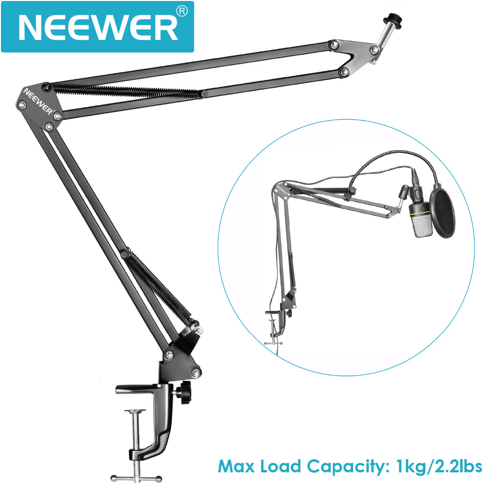 Neewer Pro Desktop Microphone Suspension Scissor Arm Microphone Stand Table Mounting Clamp for for Samson Blue Yeti Snowball