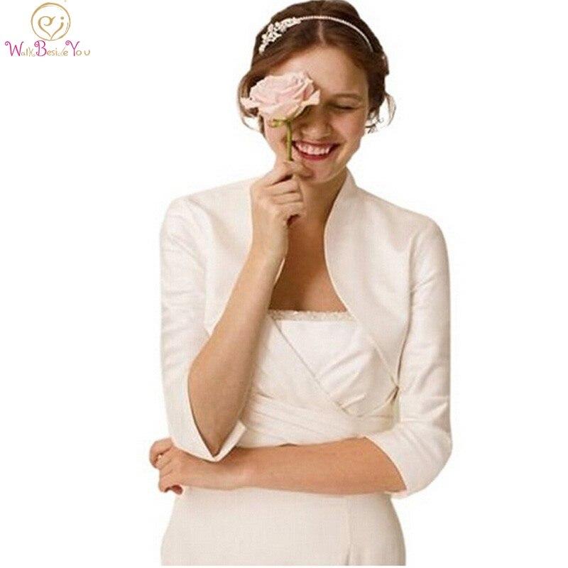 2019 Women Wraps Elegant Capes Ivory Boleros Three Quarter Sleeves Jackets Satin Evening Prom Party Wedding Capas Formal Shawls