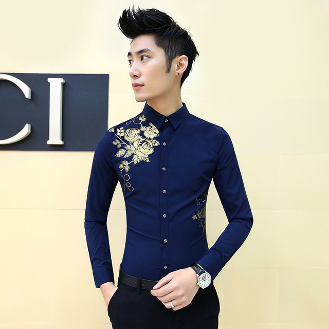 Aliexpress.com : Buy Mens Flower Shirt New Spring Black Navy White ...
