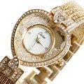 Liga Faixa de relógio de luxo de Ouro Bling Rhinestone da Forma Do Coração Pulseira de Relógio de Pulso Vestido Das Mulheres Das Senhoras Da Menina Presente relojes de las mujeres