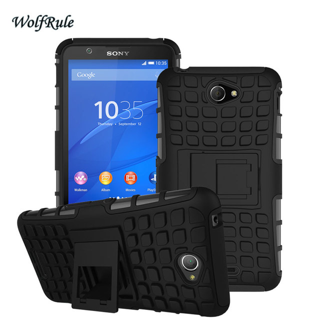 WolfRule Case For Sony E4 Cover Soft Silicone & Plastic Case For Sony Xperia E4 E2114 E2124 E2115 E2104 E2105 Phone Holder Stand