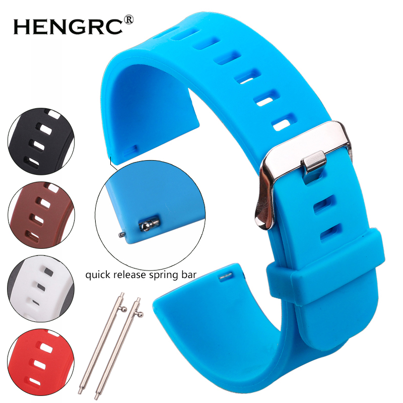 HENGRC 5 Colors Silicone Rubber Watchband 18mm 20mm 22mm Women Men Watch Band Strap Waterproof Sports Watch Belt Polished Buckle