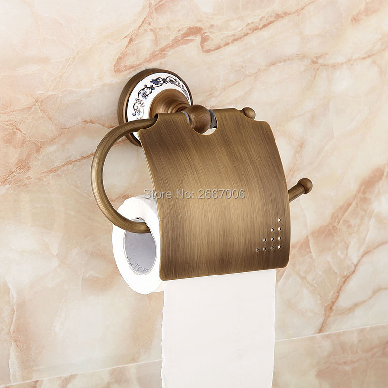 Free shipping Cheap Wall Mounted paper box roll holder toilet Antique Copper paper holder tissue box Bathroom Accessories ZR2301 european black copper tissue roll holder vintage brushed toilet paper holder paper box wall mounted bathroom accessories j33