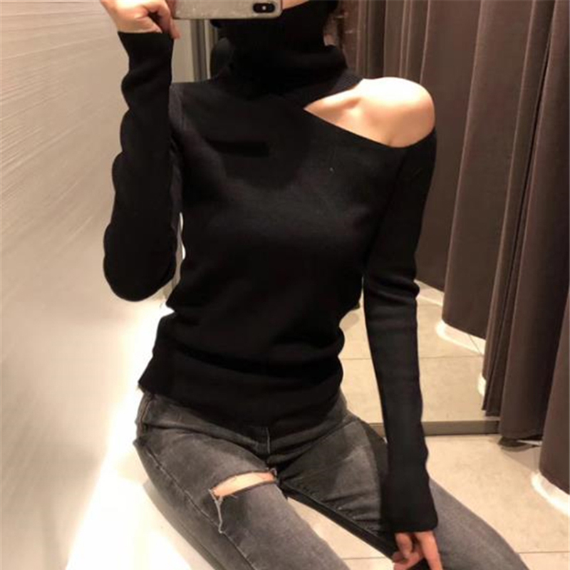 Gkfnmt Women Pullovers Sweater 2019 Knitting Autumn Winter Turtleneck Sexy Hollow Out Off Shoulder Casual Ladies Tops
