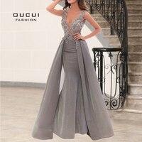 DuBai Gray Glitter Sparkling Mermaid Sexy Womens Evening Gowns 2019 V Neck Appliques Arabic Robe Soiree Party Dress OL103259