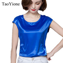 Women's Blouse Summer Silk Blouses Good Imitation silk Women Blouse Shirt Sexy White Casual Tops Party Girls Blusas Femininas(China)