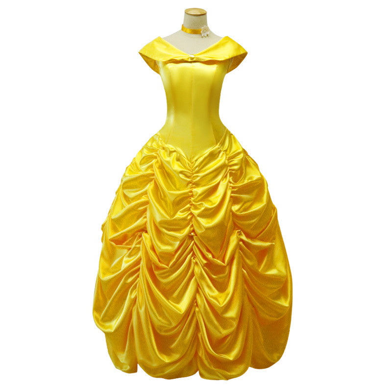 Green's Fairy Tales Movie Beauty and The Beast Princess Bella Cosplay Costume Long Dress Women Adult Fantasia Halloween Costumes