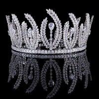 Bavoen Европейский невесты oversize сверкающий Серебряный полный Циркон Диадемы Корона кристаллы Hairbands Свадебные Женские аксессуары для волос