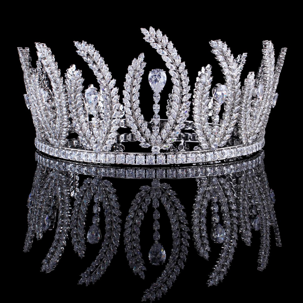 все цены на Bavoen European Brides Oversize Sparkling Silver Full Zircon Tiaras Crown Crystals Hairbands Wedding Hair Accessories онлайн