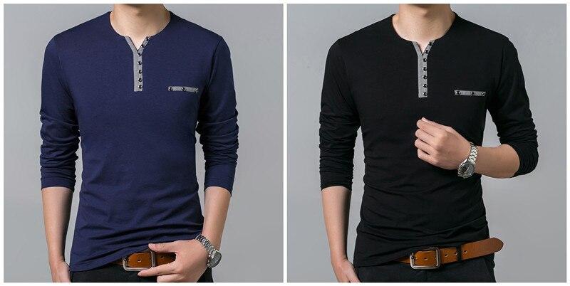 HTB1Qw69PpXXXXacXpXXq6xXFXXXV - COODRONY Cotton T Shirt Men 2018 Spring Autumn New Long Sleeve T-Shirt Men Henry Collar Tee Shirt Men Fashion Casual Tops 7617