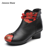 women shoes winter martin boots genuine leather printing flowers med heel