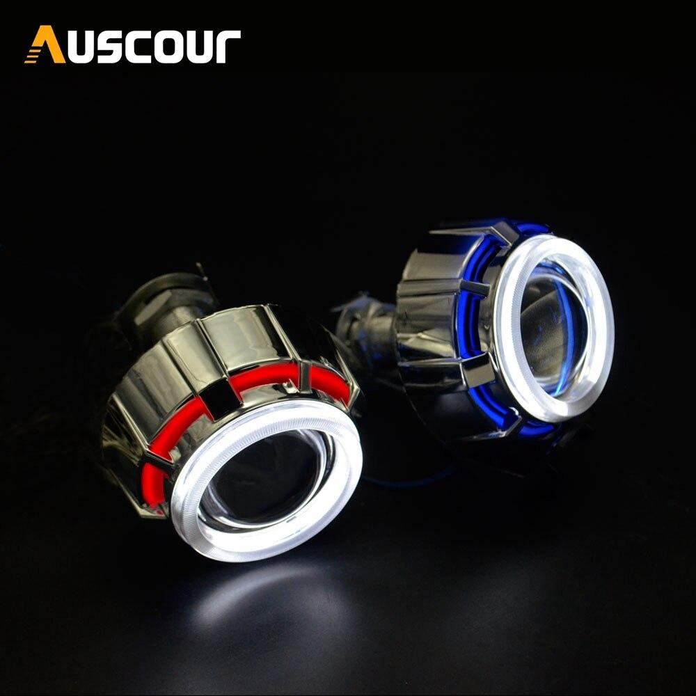 2pcs 2 0 inch bixenon Projector Lens Light Angel Eyes DRL hid xenon kit xenon bulb