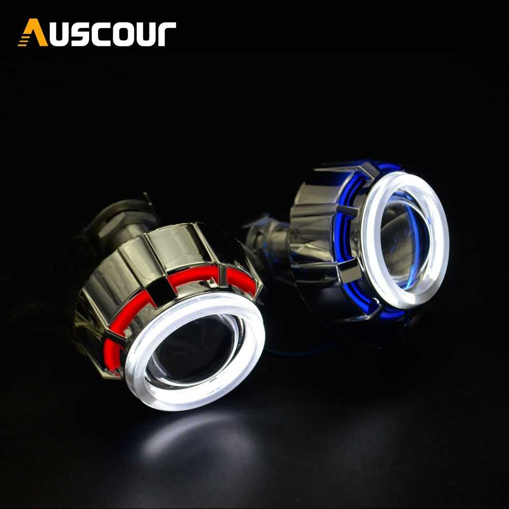 2pcs 2.0 inch bixenon Projector Lens Light Angel Eyes DRL hid xenon kit xenon bulb shrouds fit for H1 H4 H7 motorcycle headlight