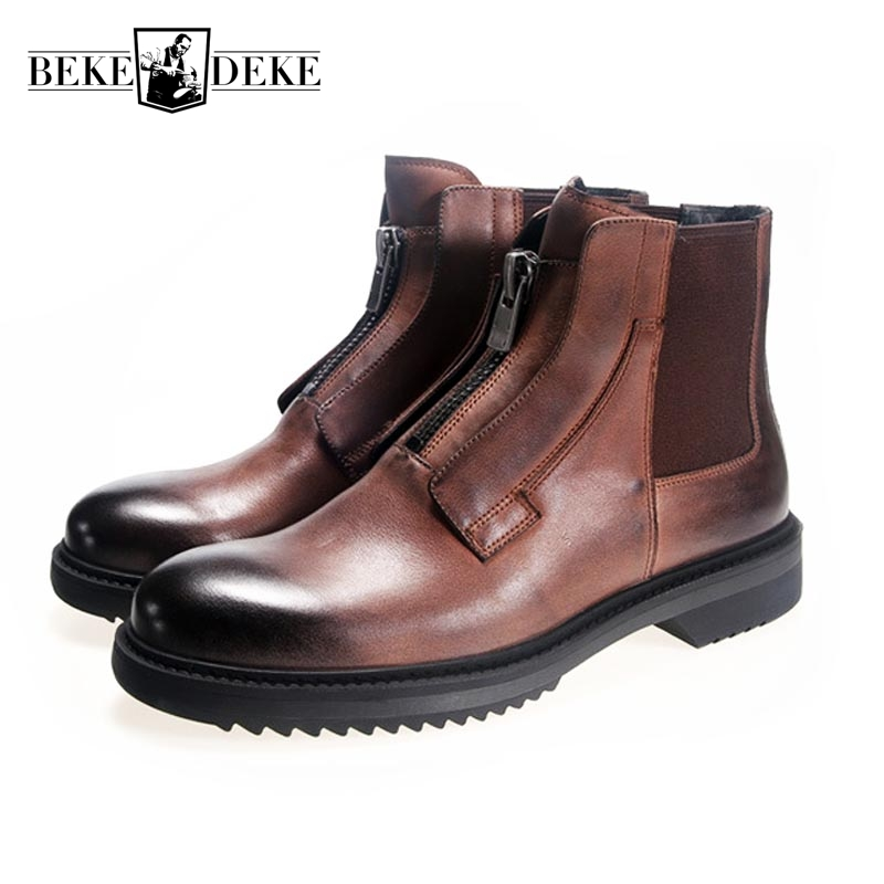 New Winter Mens Boots High-Top Shoes Martin Boots Mens British Boots Men Male Zipper Genuine Leather Warm Shoes Large Size 44 martin boots men s high boots korean shoes autumn winter british retro men shoes front zipper leather shoes breathable
