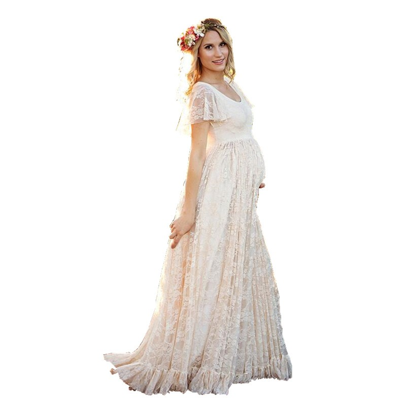 a3b276e162c88 New White Pink Maternity Dress Pregnancy Photo Props Shoot Pregnant Women  Lady Elegant Vestidos Lace Party