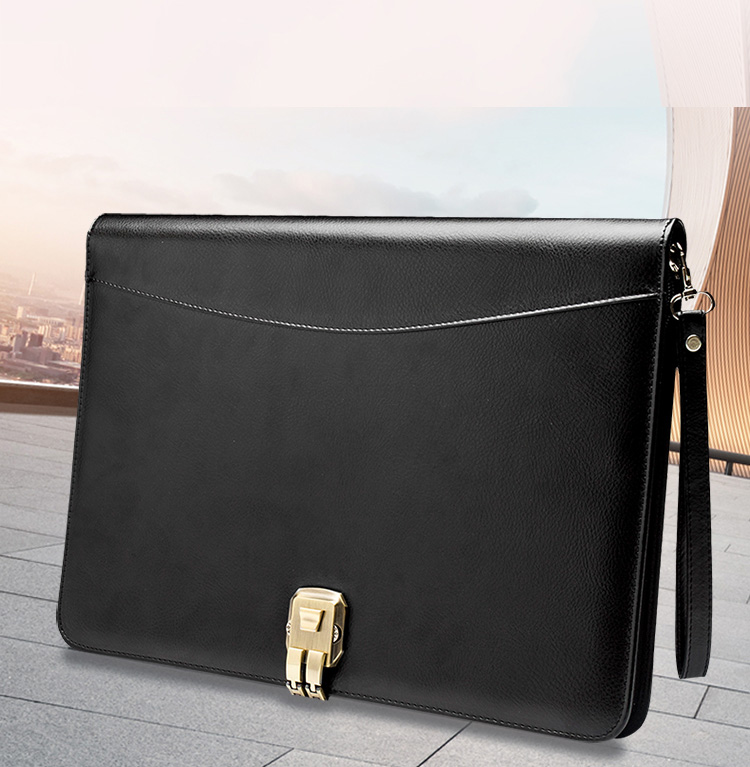 A4 PU cuir Padfolio Document d'affaires Business Manager sac portefeuille dossier avec mot de passe serrure calculatrice fermeture à glissière Clip