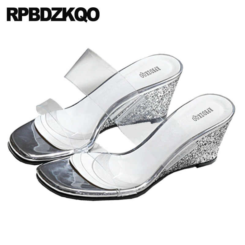 1b0e134706ead5 ... High Heels Clear Strap Sandals Wedge Pumps Slides Sequin Big Size Gold Bling  Silver Glitter Shoes ...