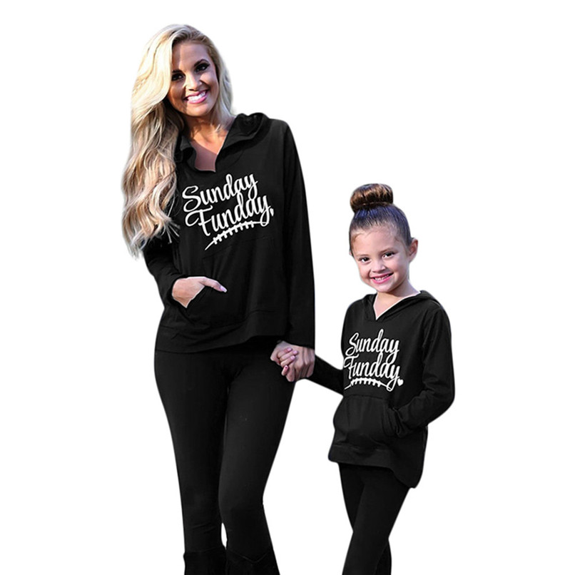 Child Sweater Children\`s Running Jacket Mommy Me Child Girls Boys Long Sleeves Letter Hooded Sweatershirt Family Clothes #2O19#F (17)