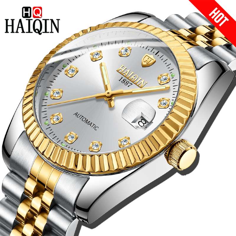 Haiqin Automatic Mechanical Mens Watch Gold Steel Luxury Business Watch Men Outdoor Waterproof Watch Fashion Gift Reloj hombresHaiqin Automatic Mechanical Mens Watch Gold Steel Luxury Business Watch Men Outdoor Waterproof Watch Fashion Gift Reloj hombres