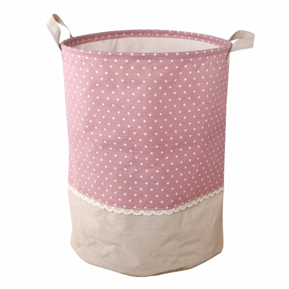 Laundry Basket Waterproof Foldable Fabric Cotton Linen Bin Hand-held Hamper Bag Dirty Clothes Toy Collections Storage Hot New