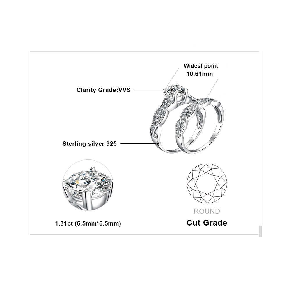 JewelryPalace Бесконечности Имитация Алмазный Годовщина Обещание Обручальное Обручальное Кольцо Невесты Набор Стерлингового Серебра 925 Ювелирных Изделий