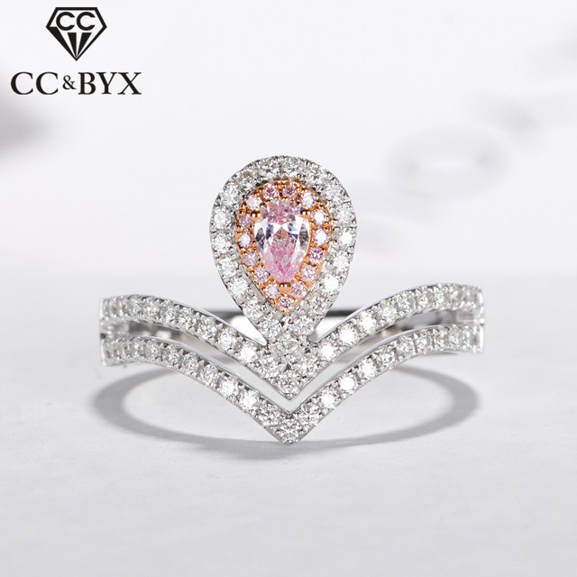 Cc Crown Wedding Rings For Women S925 Silver Ring Water Drop Pink