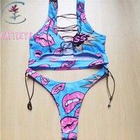 CATTLEYA 2018 New African Sexy Thong Bikini Swimwear Women Bikini Set Two Pieces Swimsuit Biquini Bathing