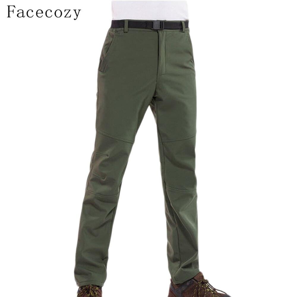 Facecozy Men Fleece Hiking&Camping Pants Female Outdoor Pantolon Fishing Softshell Pants Waterproof Trekking Skiing Throuses