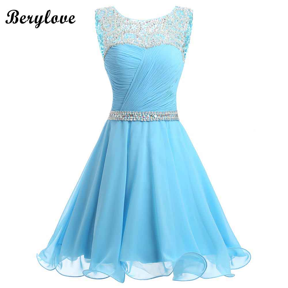 BeryLove Blue Short Homecoming Dresses 2019 Mini Beaded Chiffon Homecoming Gowns Short Graduation Dresses Gowns Prom Dresses