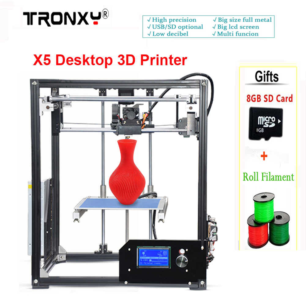 New Precision Reprap X5 Desktop 3D Printer Big LCD display DIY 3d printers Kit Heated Bed with 1 Roll Filament 8GB SD ship from european warehouse flsun3d 3d printer auto leveling i3 3d printer kit heated bed two rolls filament sd card gift