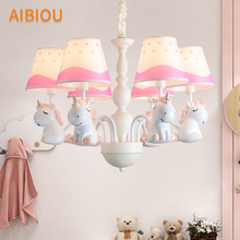 AIBIOU LED Chandelier With Fabric Lampshade For Kids Room Childern Chandeliers Boys Lamp Girls Lighting Fixtures