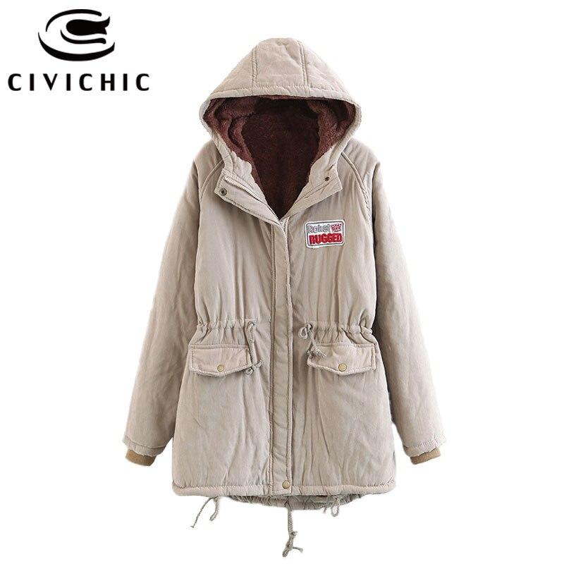 CIVICHIC nouveau hiver femmes à capuche Parka polaire chaud manteau mi-long loisirs survêtement automne coton pardessus velours brassard DC18