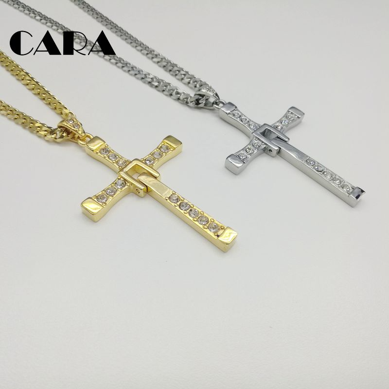 2584c8fdbf705 US $11.59 27% OFF|2019 new Big size Fast and Furious 8 Dominic Toretto  Cross Necklace Pendant Vin Titanium Steel Necklace men jewelry CARA0153-in  ...