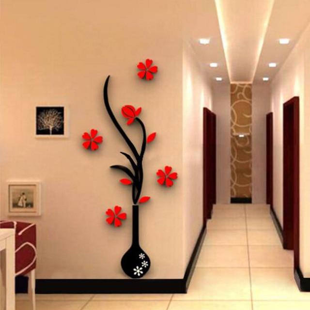 Naklejka cienna 3d akrylowe diy wazon kwiat drzewa kryszta akrylowe naklejki cienne naklejka for Decoracion de oficinas creativas