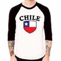 Christmas Gift T Shirts Chile Flag White Jersey t shirt 3/4 sleeve Raglan Tee Shirt Custom Team Country Euro Plus Size Top Tee