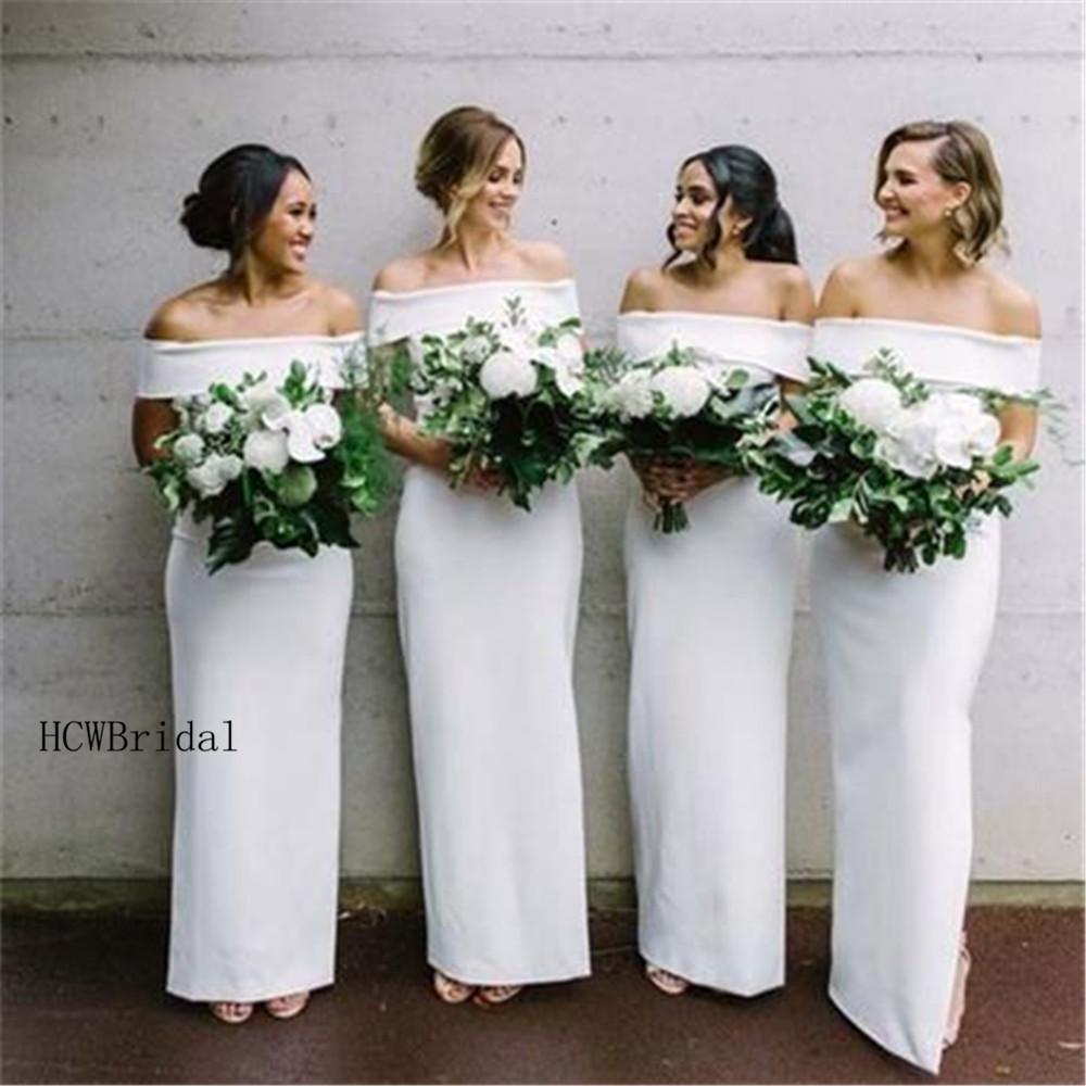 High Quality White Long   Bridesmaid     Dresses   Off The Shoulder Sheath Style Off The Shoulder Boat Neck Cheap Maid Of Honor   Dress