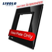 Free Shipping Livolo Luxury Black Pearl Crystal Glass 80mm 80mm EU Standard Single Glass Panel For