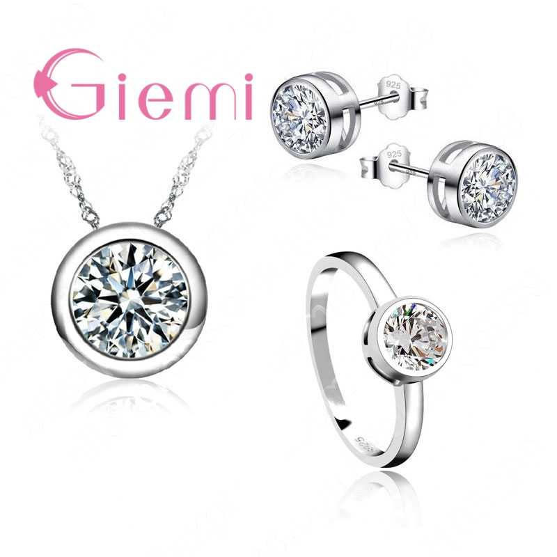 Wedding Bridal Jewelry Sets Factory Outlets 925 Sterling Silver Round Cubic Zircon Stud Earrings Pendant Necklace Rings