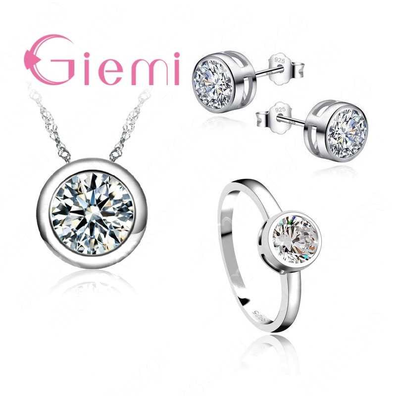 Ensembles de bijoux de mariée de mariage magasins d'usine 925 en argent Sterling rond cubique Zircon boucles d'oreilles pendentif collier anneaux