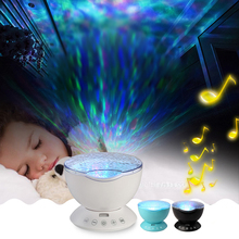Kids Children Baby Room Novelty Remote Control Ocean Sea Waves LED Projector Night Light Music Box