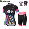 Cat Shirt Radfahren Jersey WEIMOSTAR Frauen radfahren kleidung maillot ciclismo MTB Jersey Set Sommer Kurzarm Pad Shorts Anzug-in Fahrrad-Sets aus Sport und Unterhaltung bei