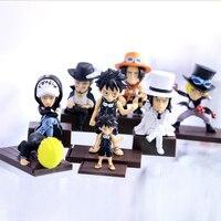 Anime One Piece action model figure Sanji Dracule Mihawk Ace Luffy black coat 7pcs/set big & small 2 style Nendoroid toy Y7236