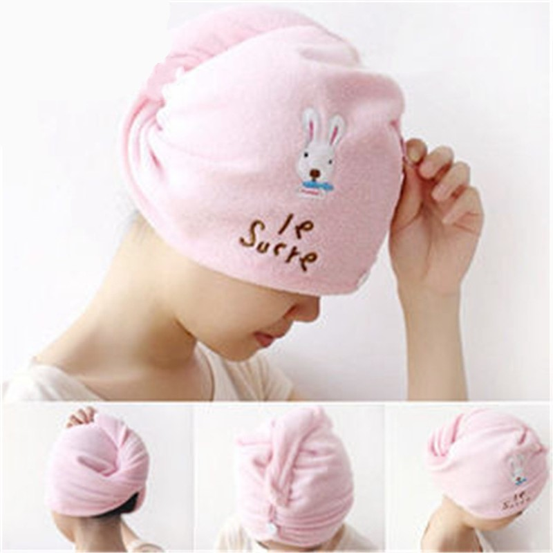 Cute Rabbit Super Fiber Dry Hair Cap Super Absorbent Magic Cartoon Rabbit Dry Hair Cap Factory Direct Sale