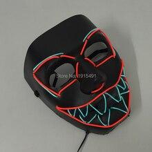 Halloween Decor Led Strip Shock Clown Mask Scream Fluorescent Bar Night Mask Concert Live Props Light Up Robot Eyes Jagged Mask cher live in concert