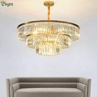 Роскошные позолоченные металлические светодиодные подвесные светильники блеск K9 круглый кулон кристалл лампа Led подвесные лампы и настоль