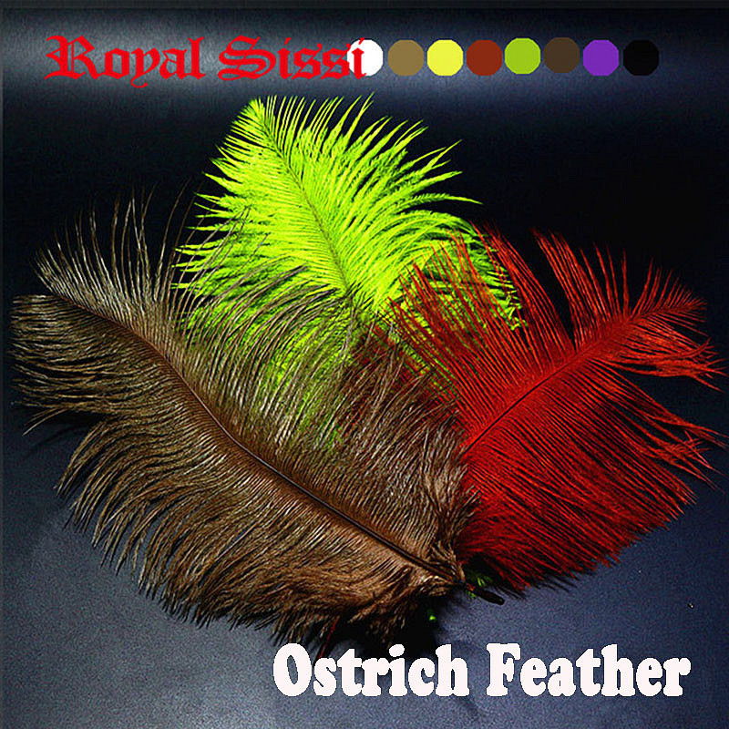 8PCS Multiple Colors Ostrich feather Fly Tying Material colorful Ostrich hair Fly Fishing lure bait making Streamer Bugs Salmon 6 pieces set 12 colors royal sissi dura flashing tubing diameter 4mm tube minnow mylar pike saltwater fly fishing tying material
