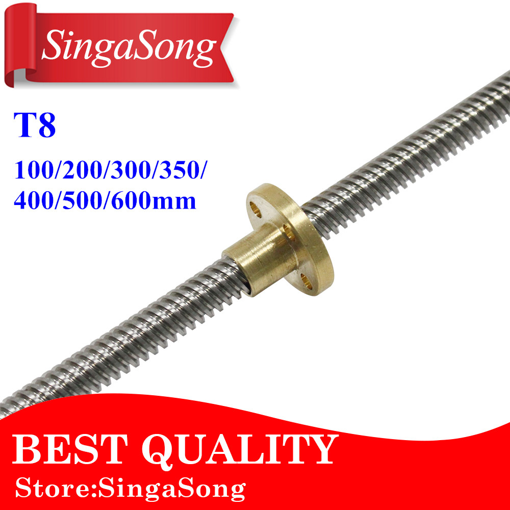 For 3D Printer &CNC THSL-500-8D Length 100/200/300/400/500/600mm T-type Stepper Motor Trapezoidal Lead Screw 8MM Thread 8mm T8 3d printer thsl 400 8d lead screw dia 8mm pitch 1mm lead 1mm length 400mm with copper nut free shipping