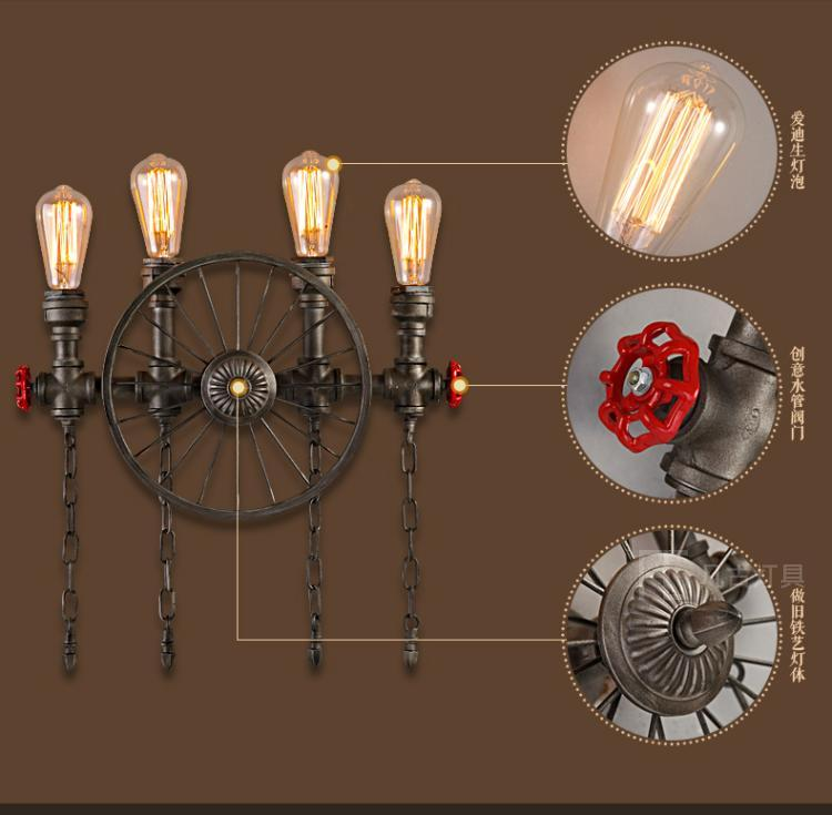 American Retro Industrial Loft Creative Personality Wrought Iron Wheel Pipe restaurant Wall Lamp Cafe Bar Coffee Shop Store Club american retro industrial pipes creative personality hallway stairs restaurant bar single head iron led wall lamp ac220v