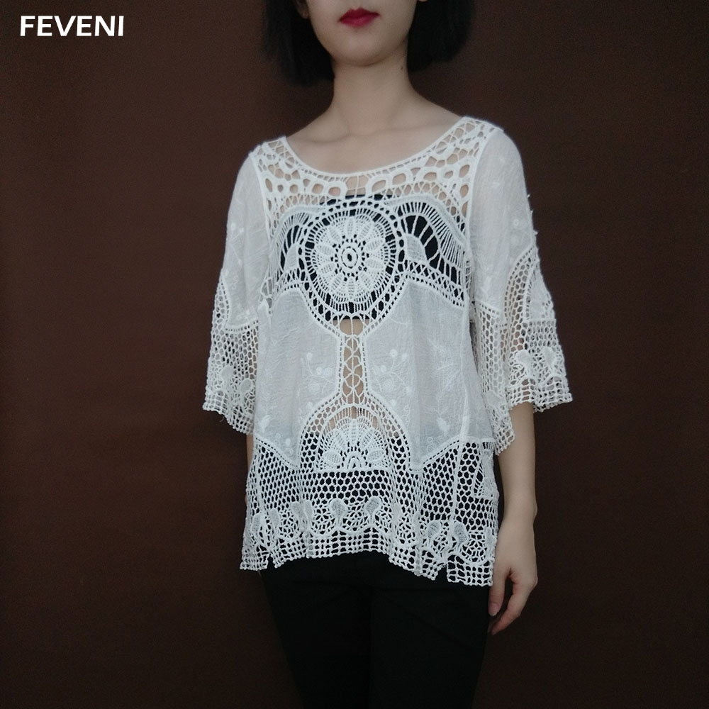 Shirt design with laces - Feveni 2017 Womens Ladies Sexy Lace Hollow Design O Neck 3 4 Sleeve White Blouses See Through Summer Beach Shirts Blusas Y03422