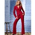 Высокое качество ультра-тонкий пользовательские костюмы белых воротничков красоты красный комбинезон женщин костюм брюки женский формальный костюм брюки